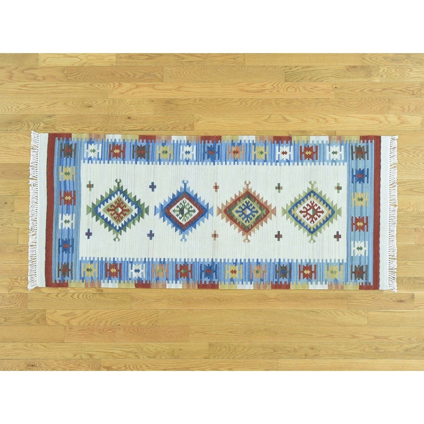 Hand Knotted Ivory Flat Weave with Wool Oriental Rug - 26 x 6