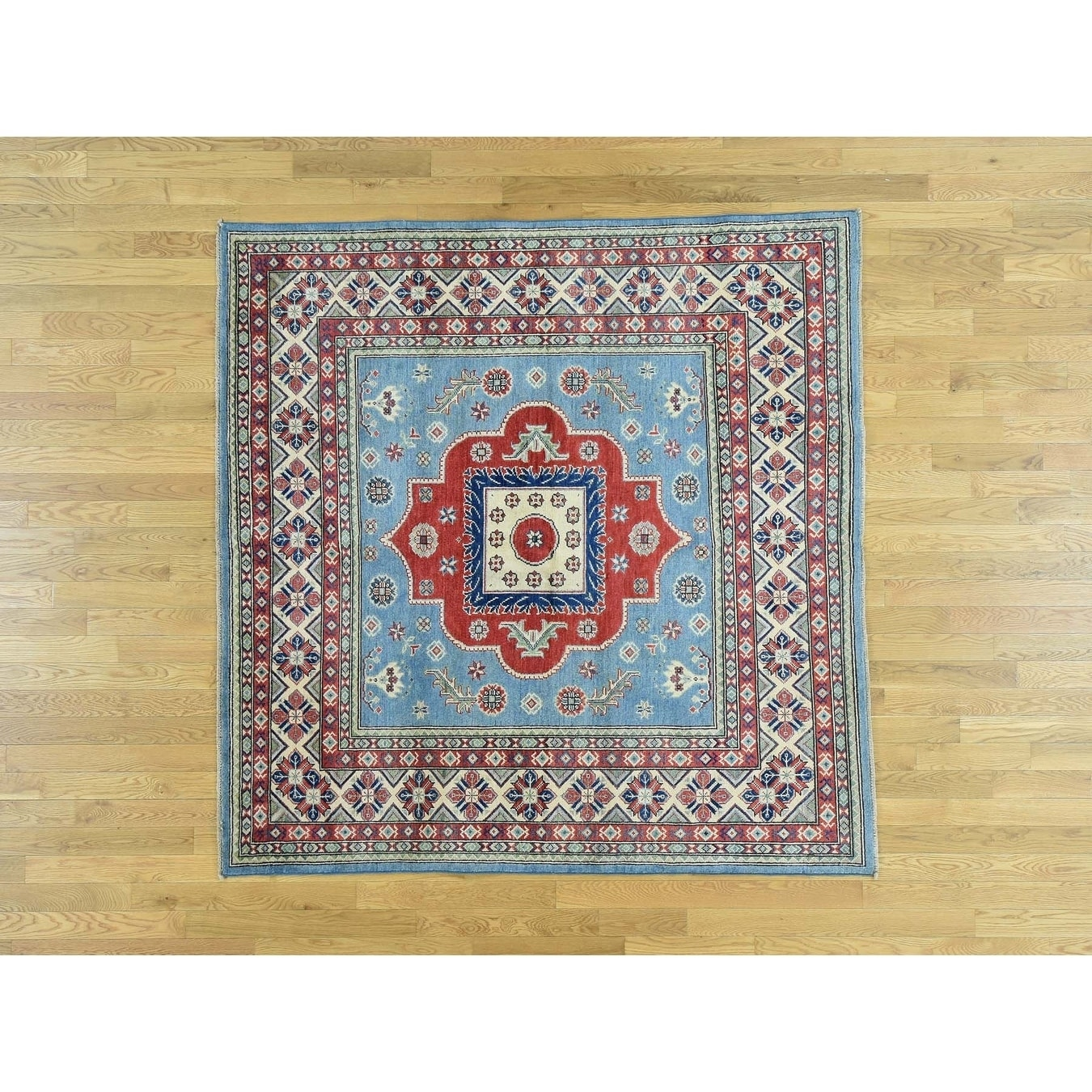 Hand Knotted Blue Kazak with Wool Oriental Rug - 66 x 67