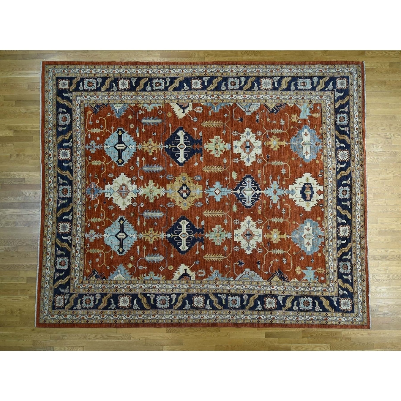 Hand Knotted Orange Tribal & Geometric with Wool Oriental Rug