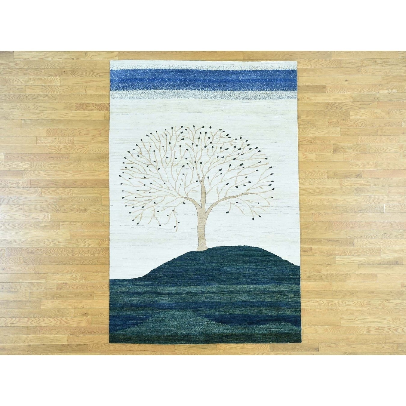 Hand Knotted Multicolored Modern & Contemporary with Wool Oriental Rug - 6 x 9