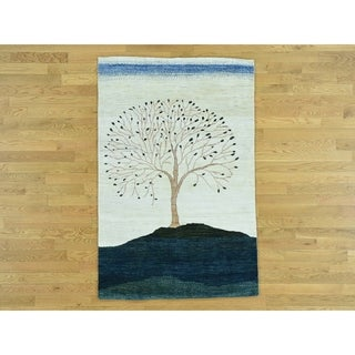 Hand Knotted Multicolored Modern & Contemporary with Wool Oriental Rug - 3'10 x 6'