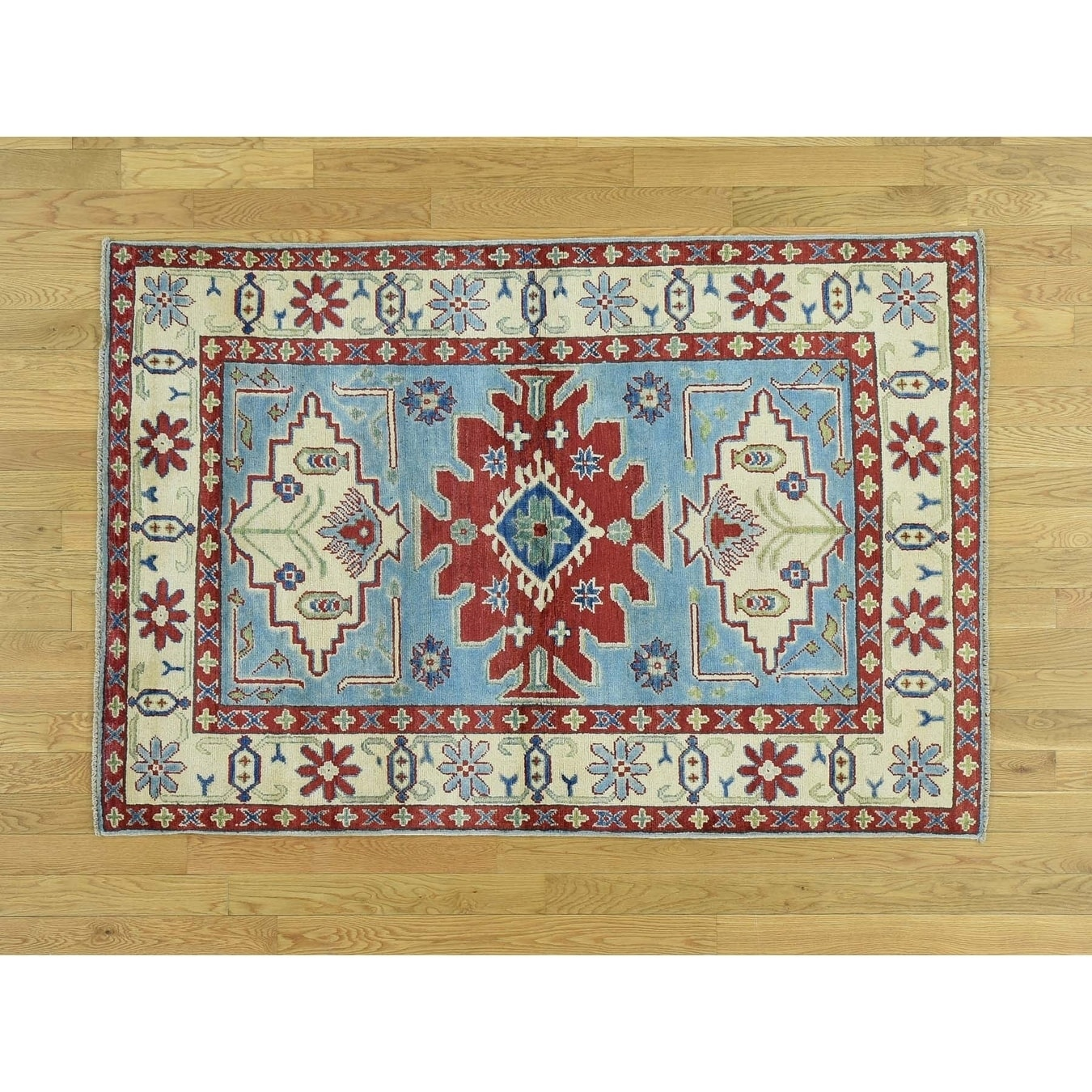 Hand Knotted Blue Kazak with Wool Oriental Rug - 4 x 6