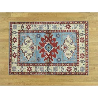 Hand Knotted Blue Kazak with Wool Oriental Rug - 4' x 6'