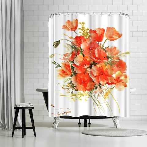 Americanflat 'Flowers Orange' Shower Curtain