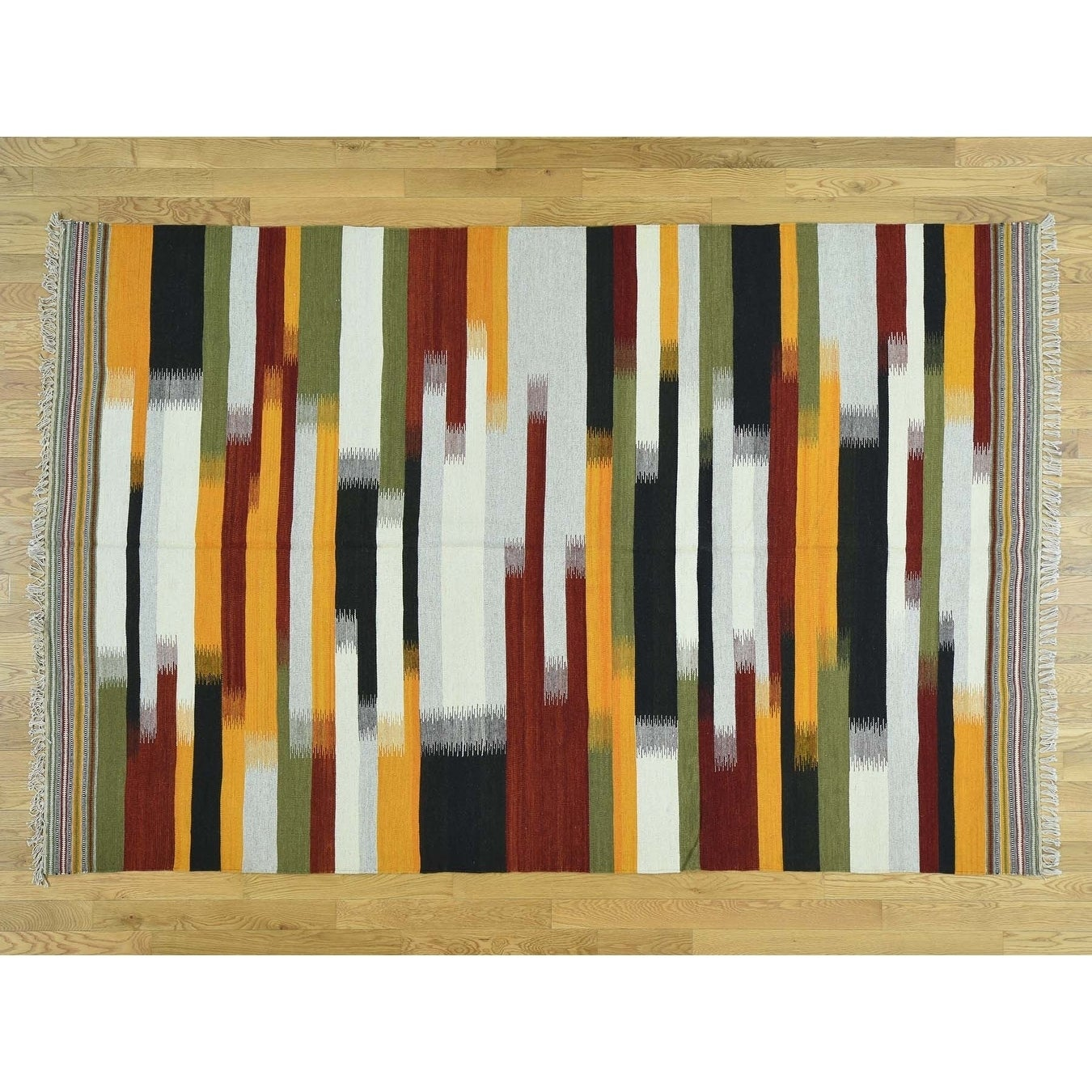 Hand Knotted Multicolored Flat Weave with Wool Oriental Rug - 6 x 93