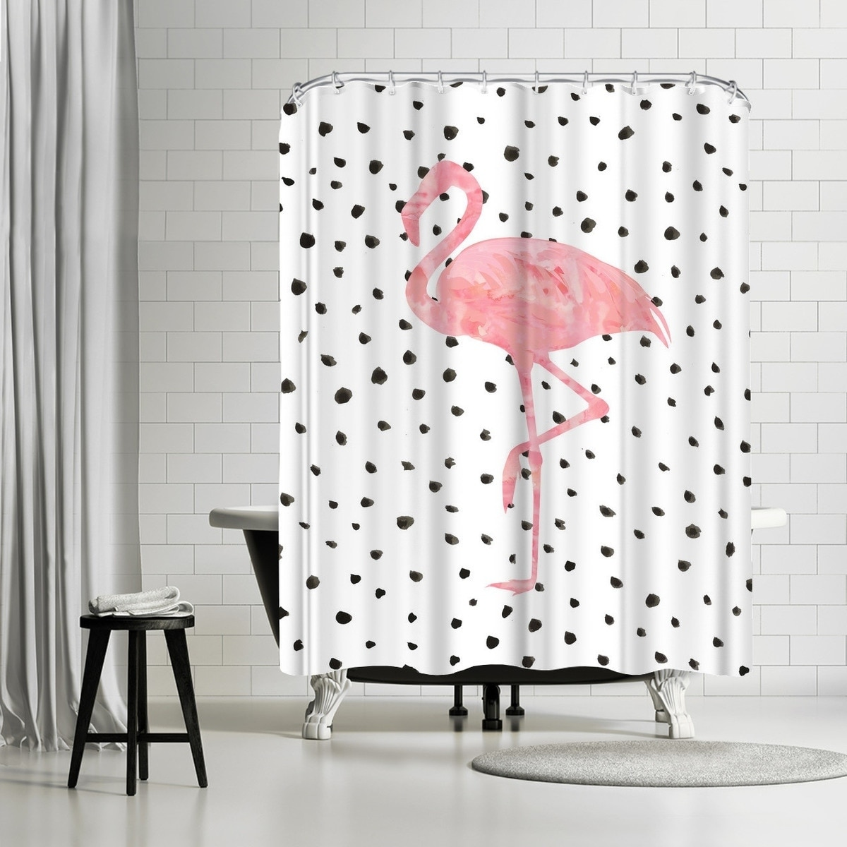 Shop Americanflat Pink Flamingo On Polka Dots Shower Curtain Overstock 21501853