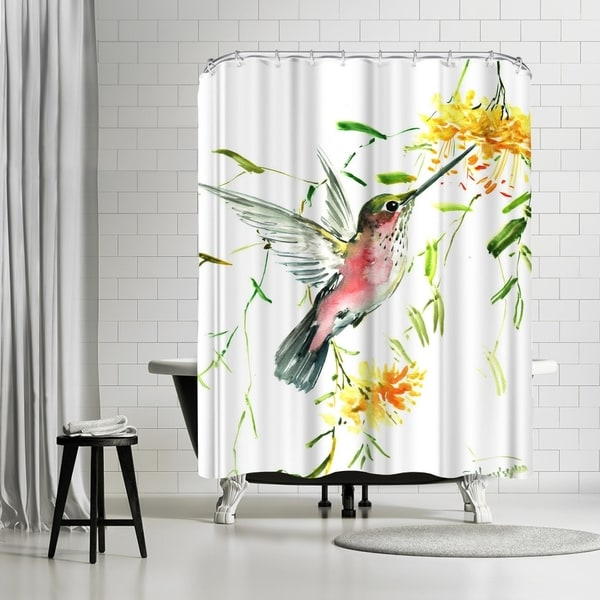 Americanflat hummingbird with yellow flowers shower curtain free americanflat hummingbird with yellow flowers shower curtain mightylinksfo