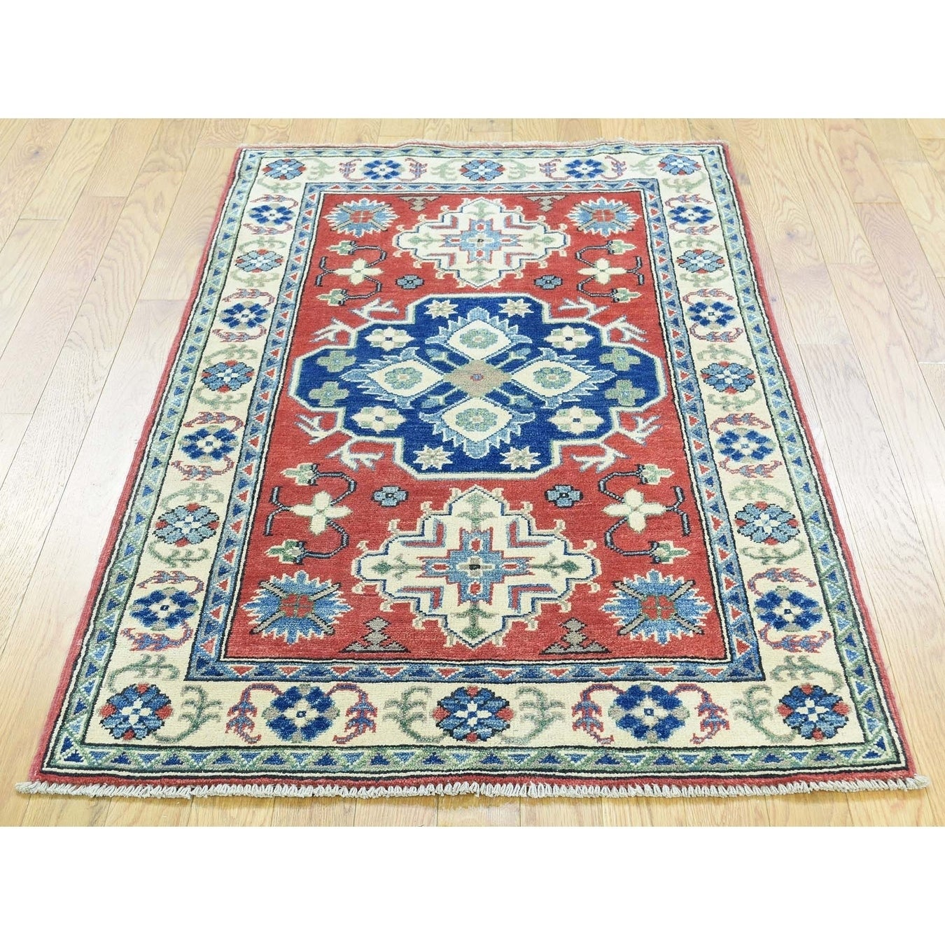 Hand Knotted Red Kazak with Wool Oriental Rug - 210 x 45