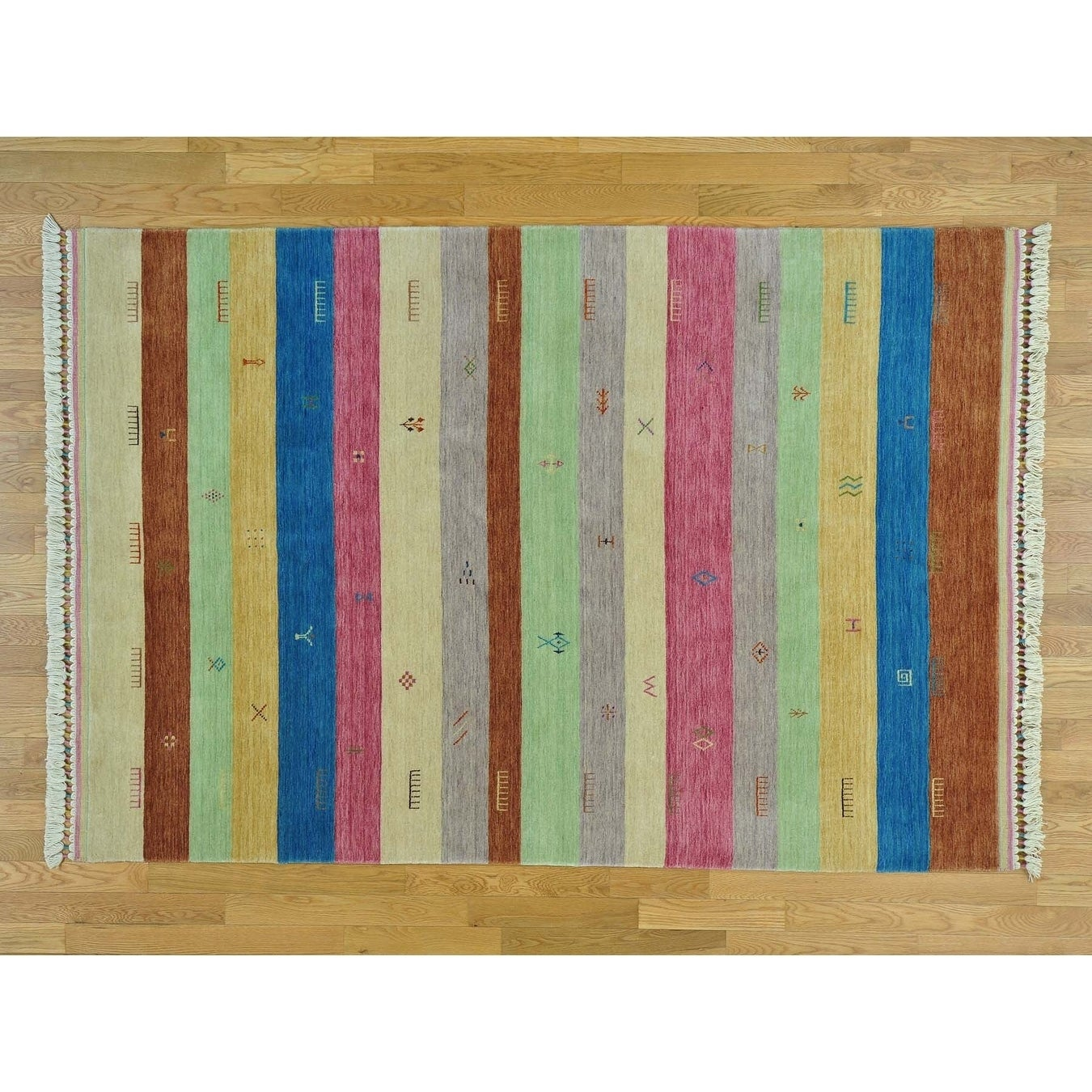 Hand Knotted Multicolored Modern & Contemporary with Wool Oriental Rug - 56 x 81