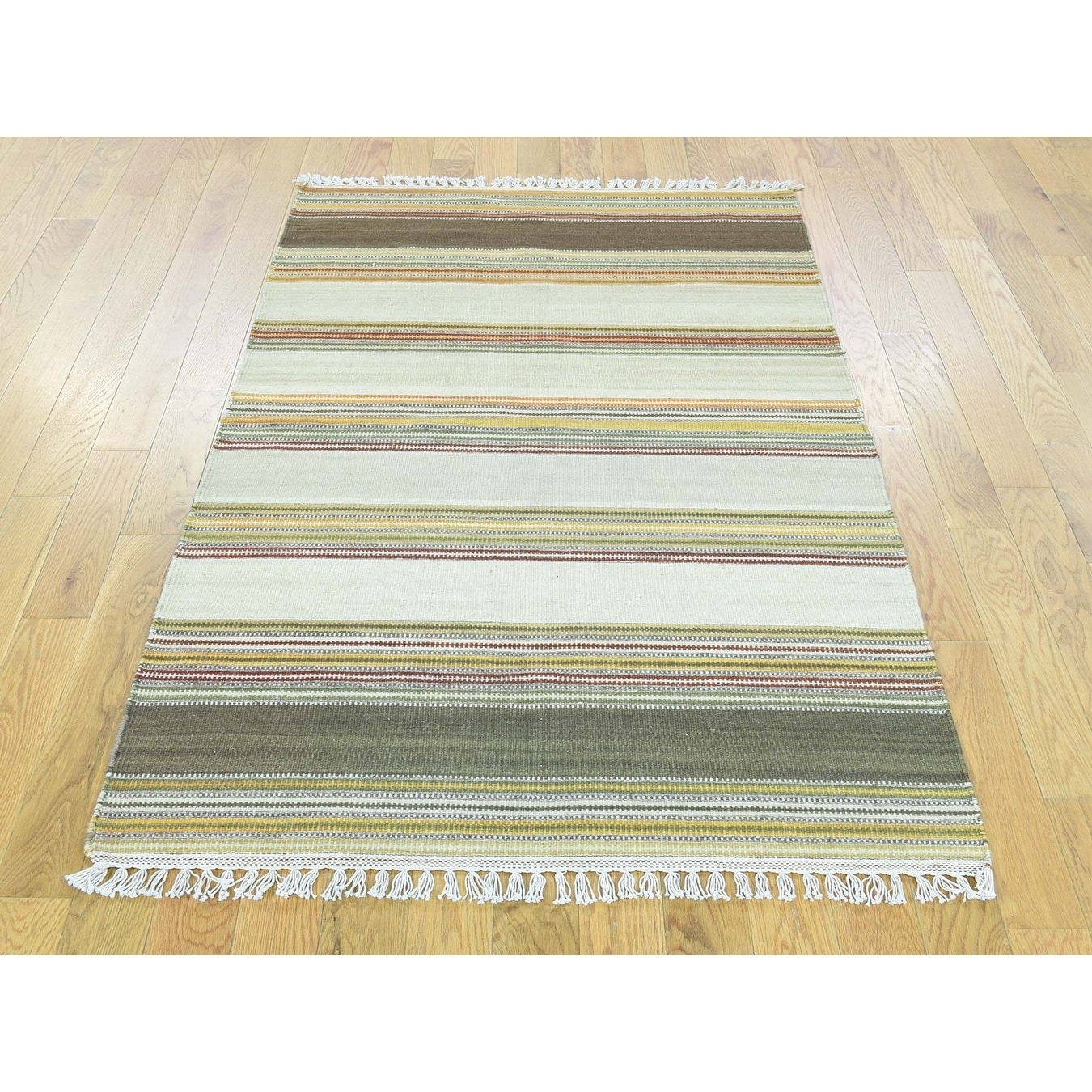 Hand Knotted Multicolored Flat Weave with Wool Oriental Rug - 210 x 51