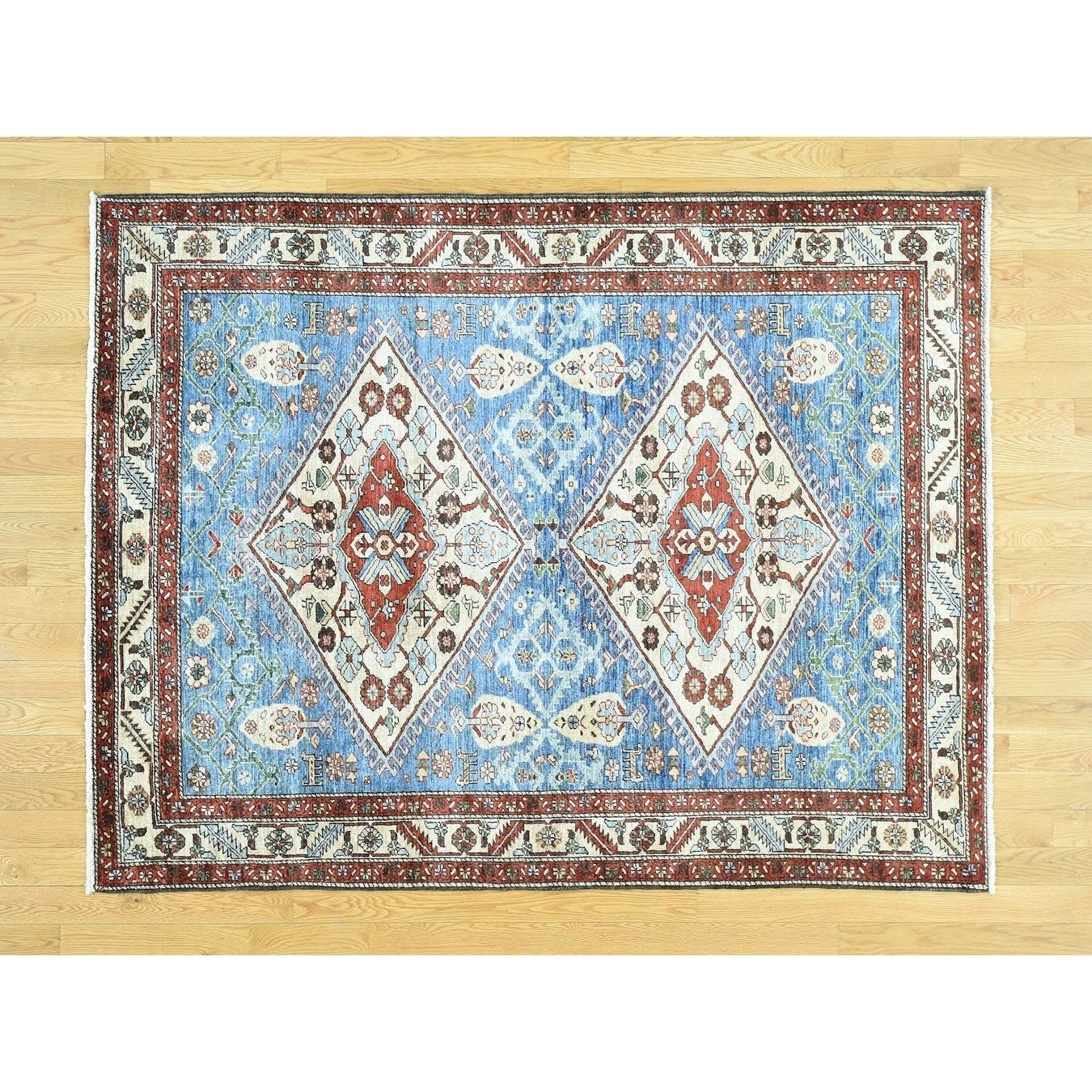 Hand Knotted Blue Heriz with Wool Oriental Rug - 51 x 67