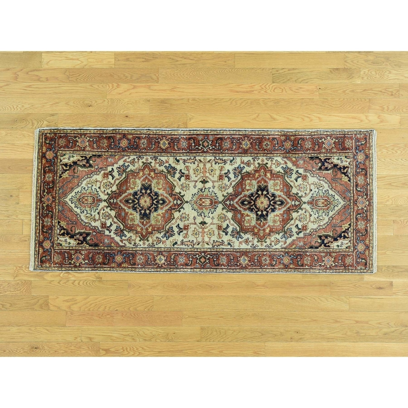 Hand Knotted Red Heriz with Wool Oriental Rug - 27 x 61