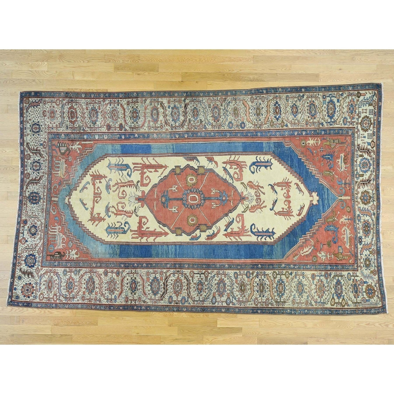 Hand Knotted Red Antique with Wool Oriental Rug - 84 x 14