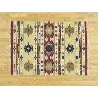 Hand Knotted Multicolored Flat Weave with Wool Oriental Rug - 4' x 6'