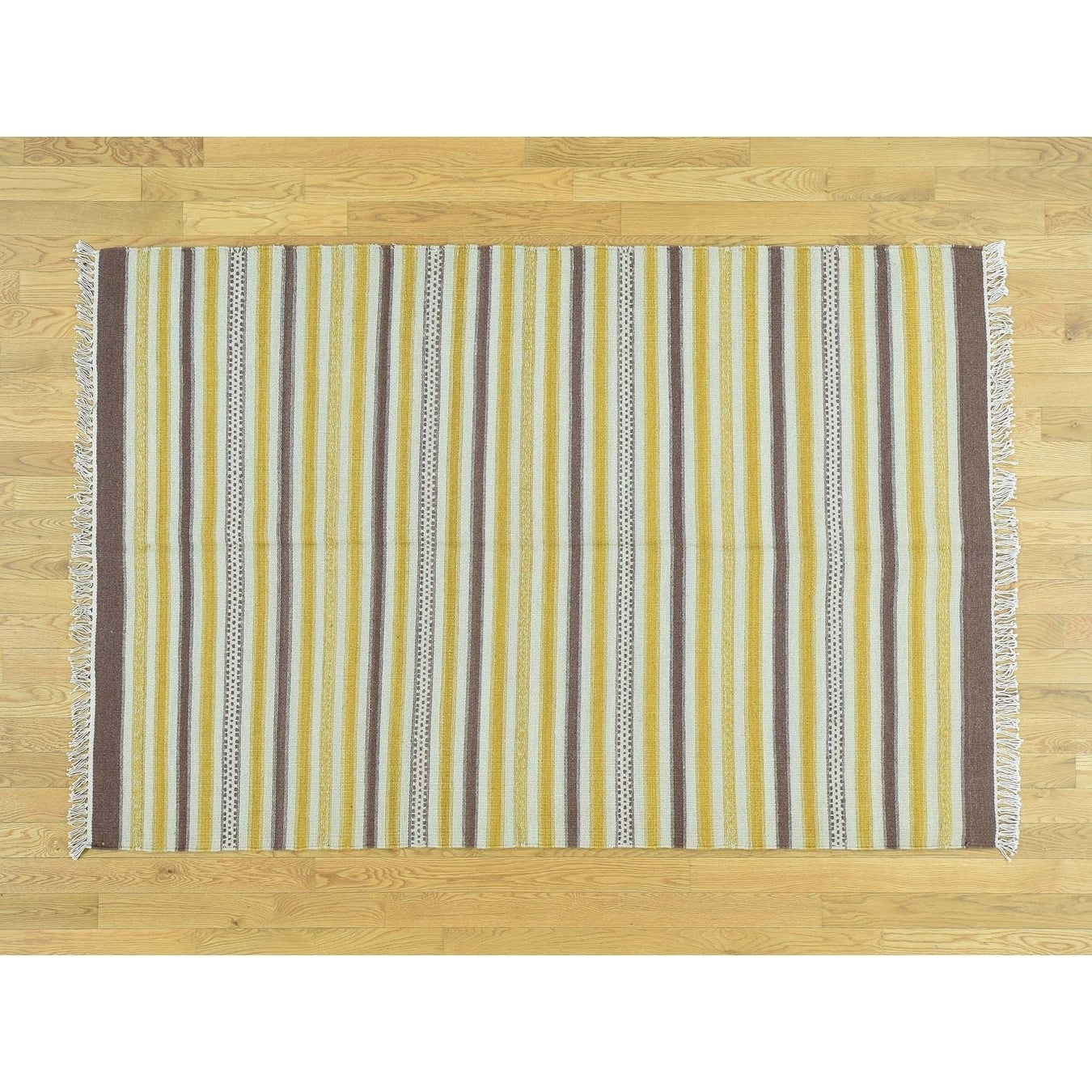 Hand Knotted Multicolored Flat Weave with Wool Oriental Rug - 49 x 7
