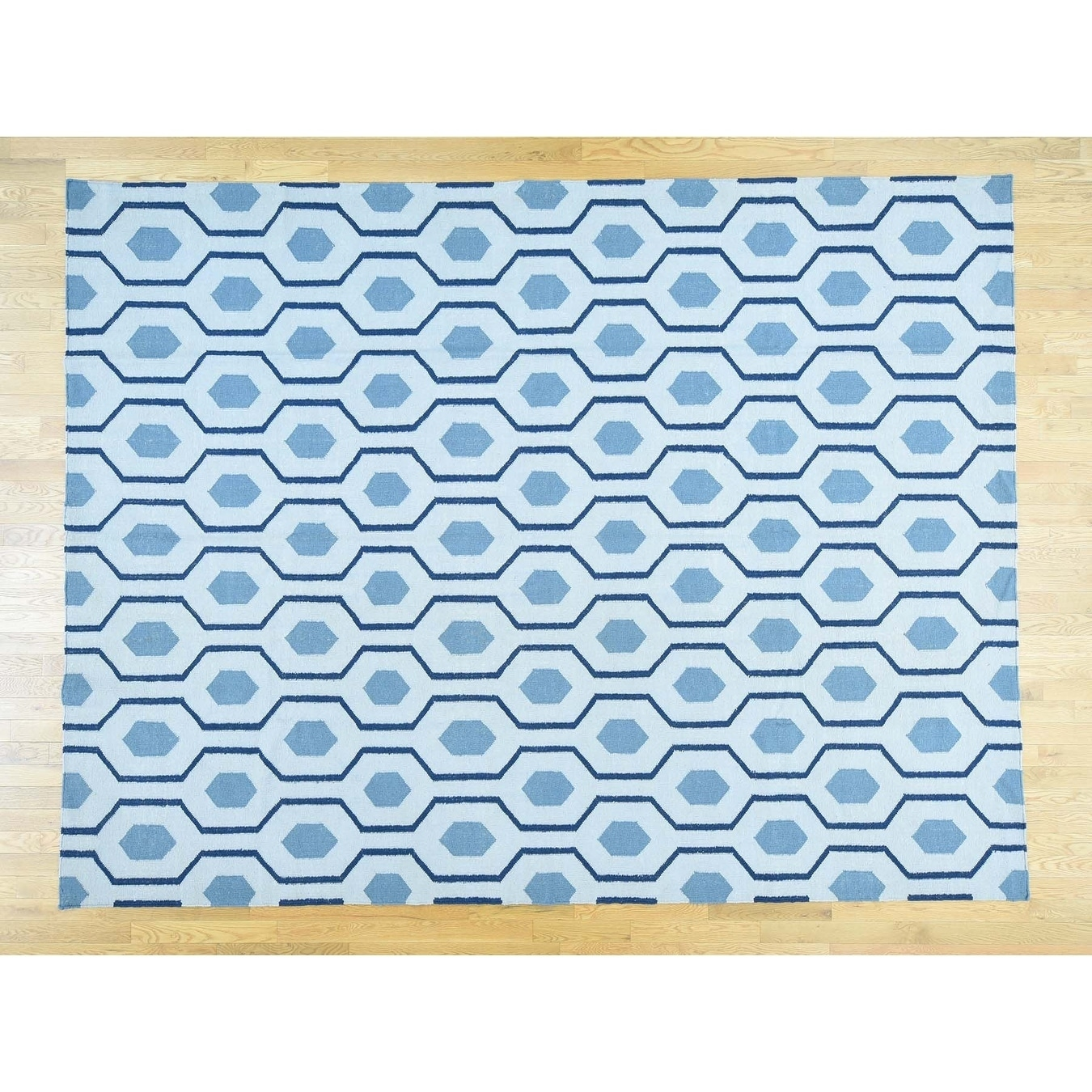 Hand Knotted Blue Flat Weave with Wool Oriental Rug - 91 x 12