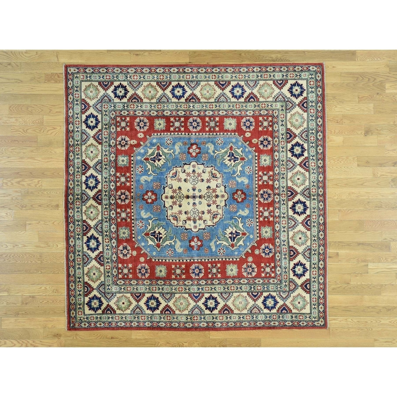 Hand Knotted Blue Kazak with Wool Oriental Rug - 69 x 69