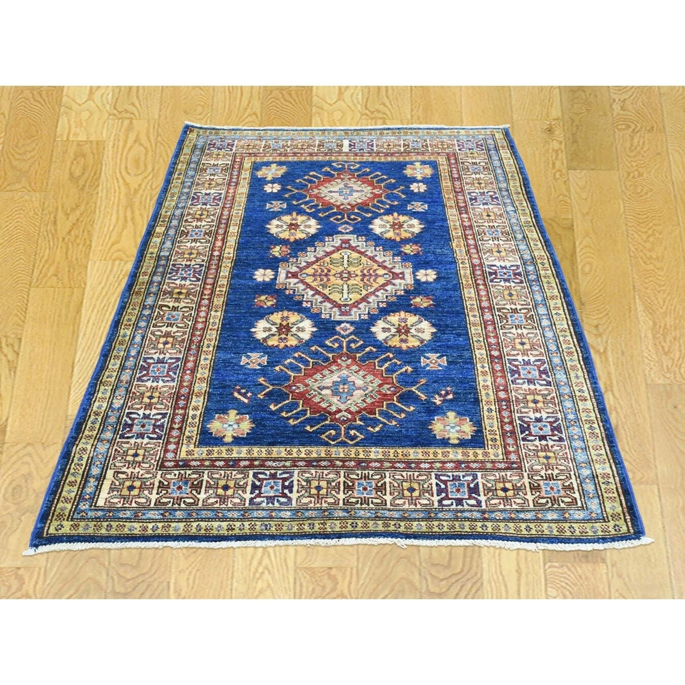 Hand Knotted Blue Kazak with Wool Oriental Rug - 33 x 410