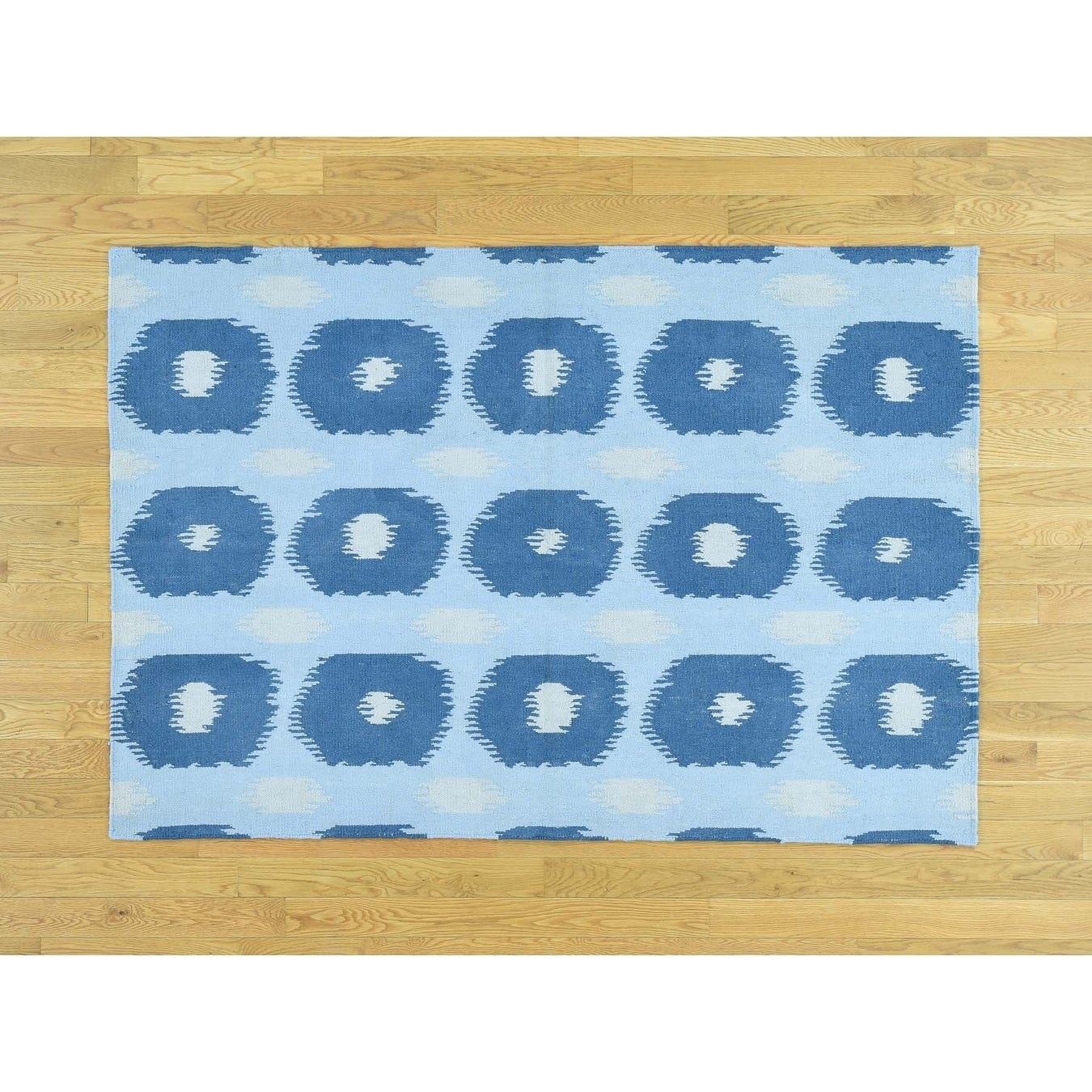 Hand Knotted Blue Flat Weave with Wool Oriental Rug - 42 x 61
