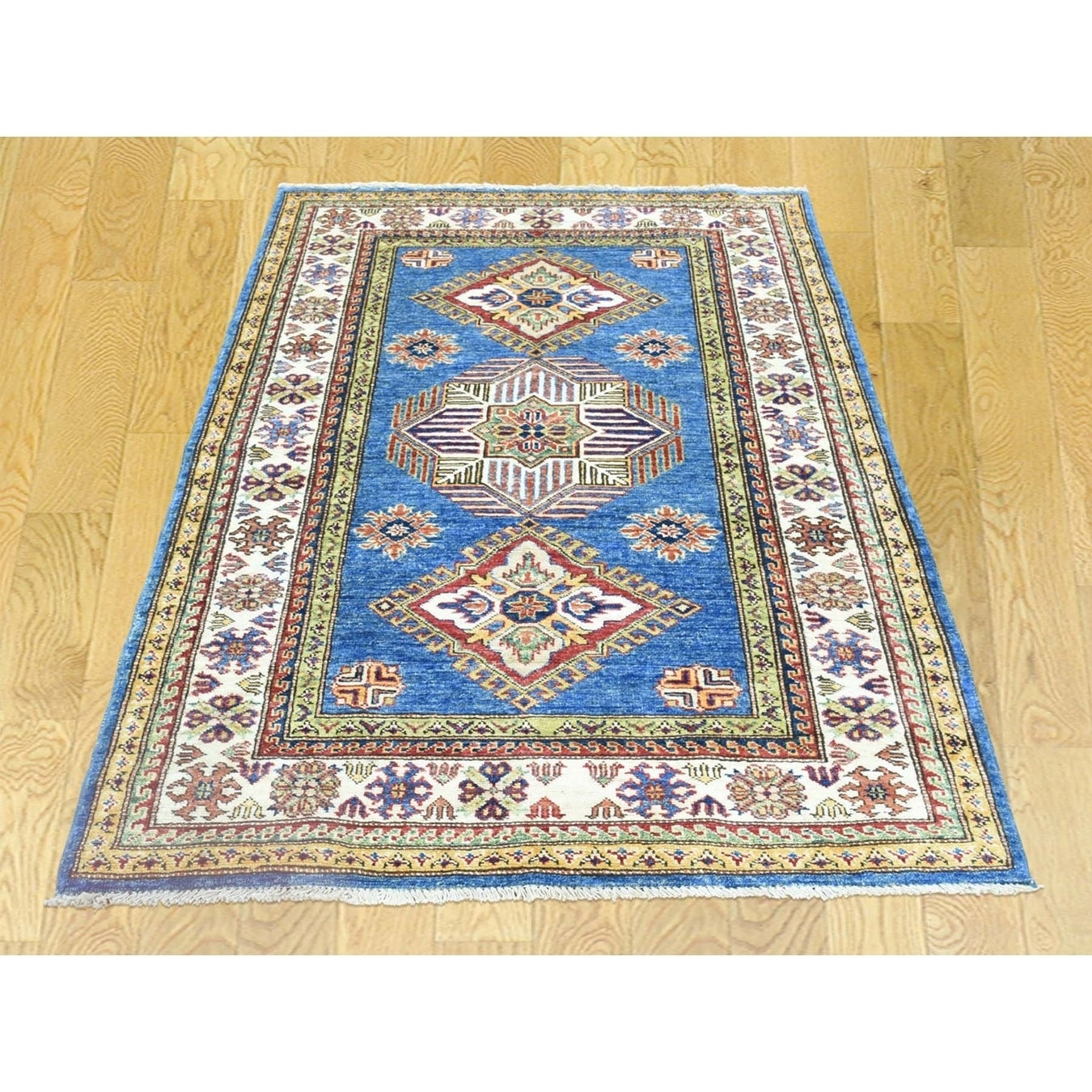Hand Knotted Blue Kazak with Wool Oriental Rug - 34 x 410