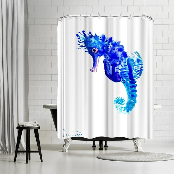 Shop Americanflat Blue Seahorse Shower Curtain