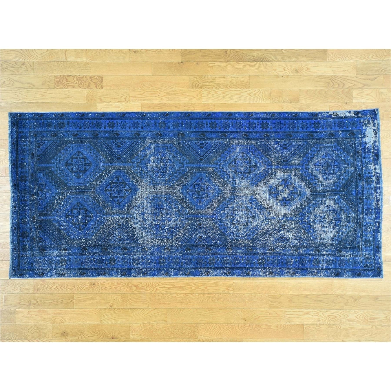Hand Knotted Blue Overdyed & Vintage with Wool Oriental Rug - 410 x 108