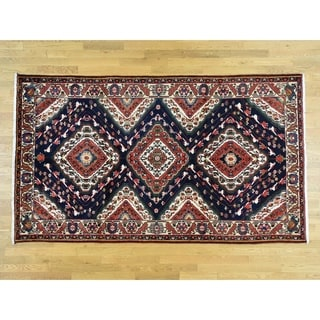 Hand Knotted Blue Persian with Wool Oriental Rug - 5'9 x 9'10