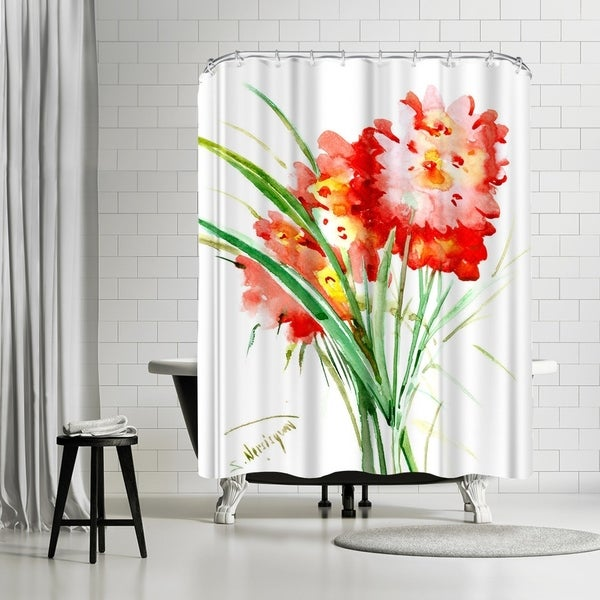 Shop Americanflat Red Flowers Shower Curtain