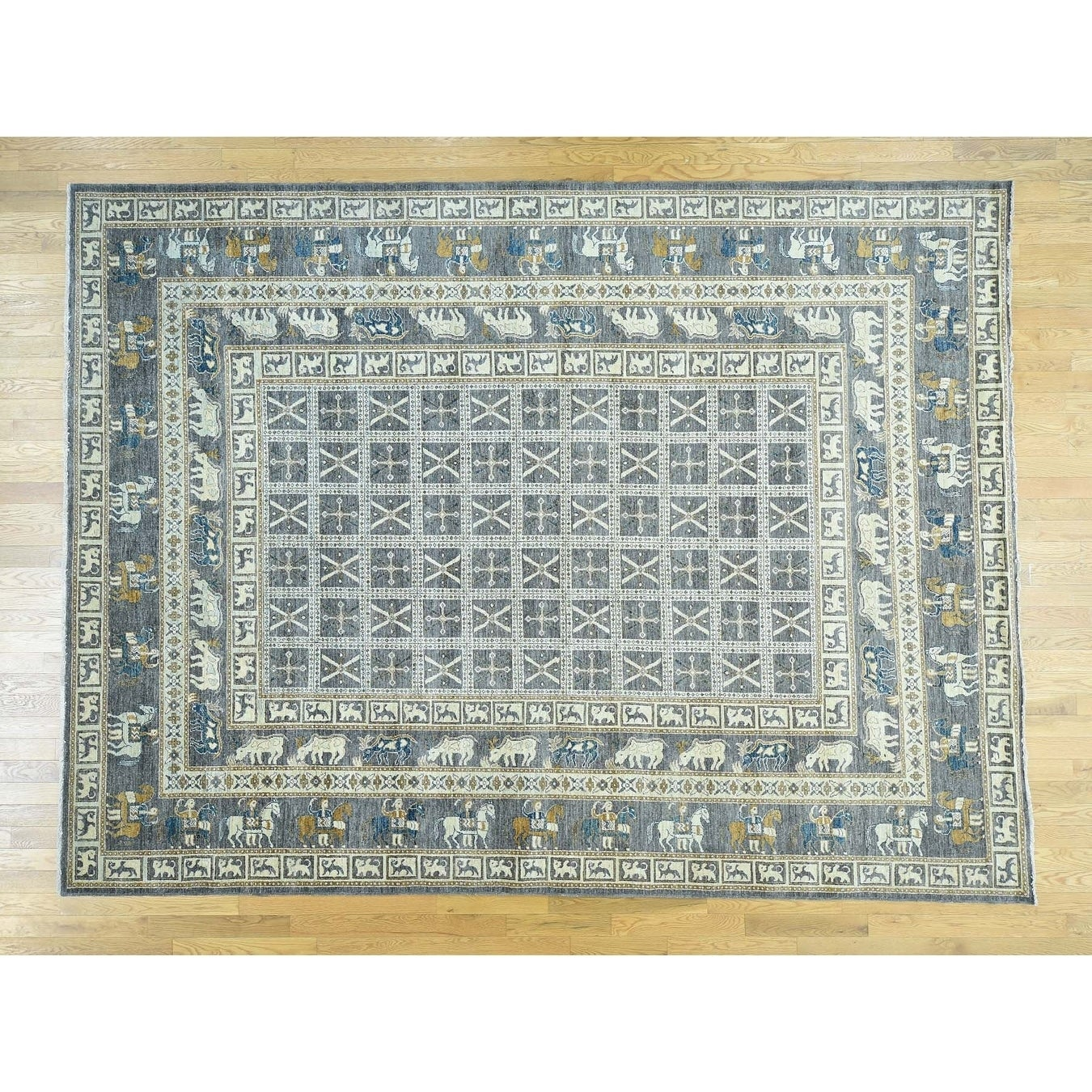 Hand Knotted Grey Tribal & Geometric with Wool Oriental Rug - 101 x 129
