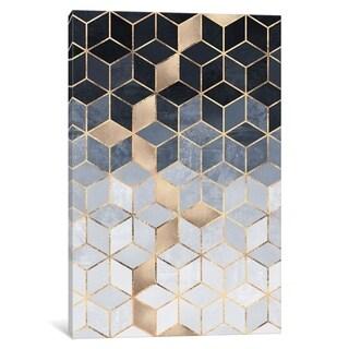 """iCanvas """"Soft Blue Gradient Cubes"""" by E. Fredriksson Canvas Print"""