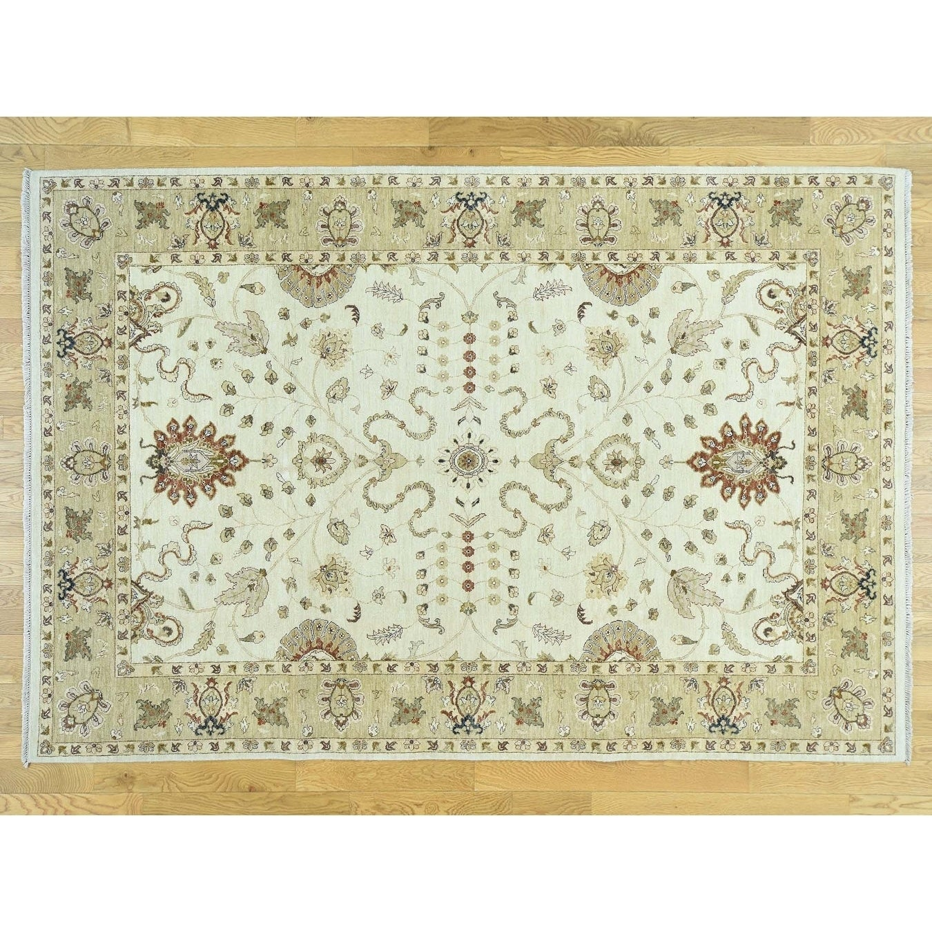 Hand Knotted Ivory Clearance with Wool Oriental Rug - 68 x 910