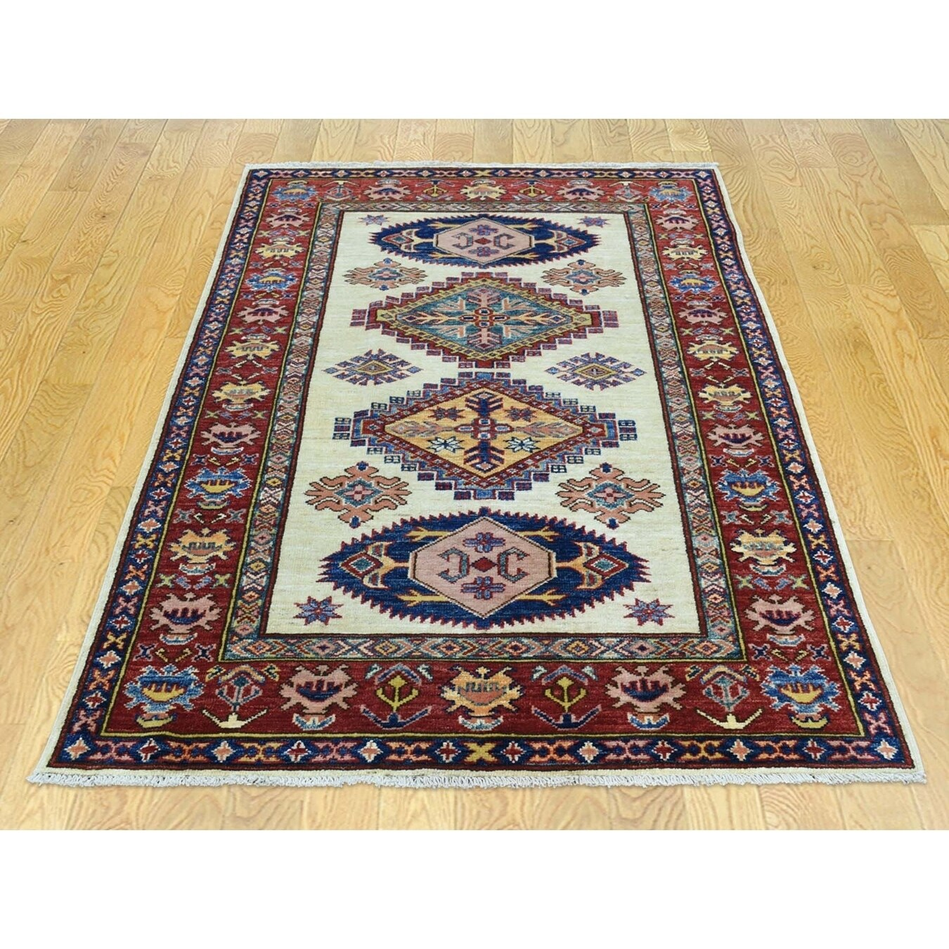 Hand Knotted Ivory Kazak with Wool Oriental Rug - 33 X 5