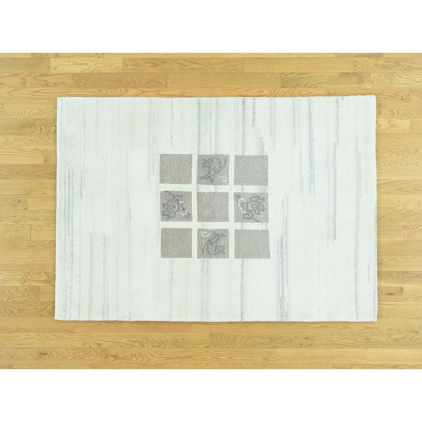Hand Knotted Ivory Clearance with Wool Oriental Rug - 4 x 58