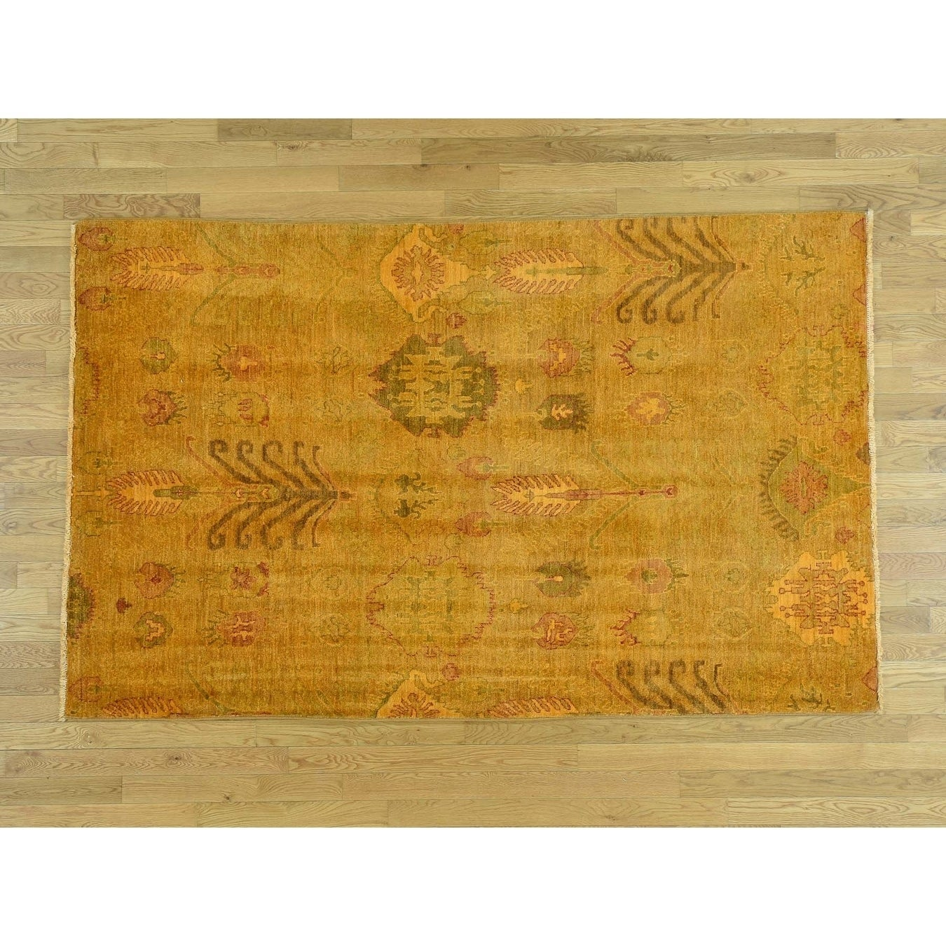 Hand Knotted Orange Overdyed & Vintage with Wool Oriental Rug - 52 x 83