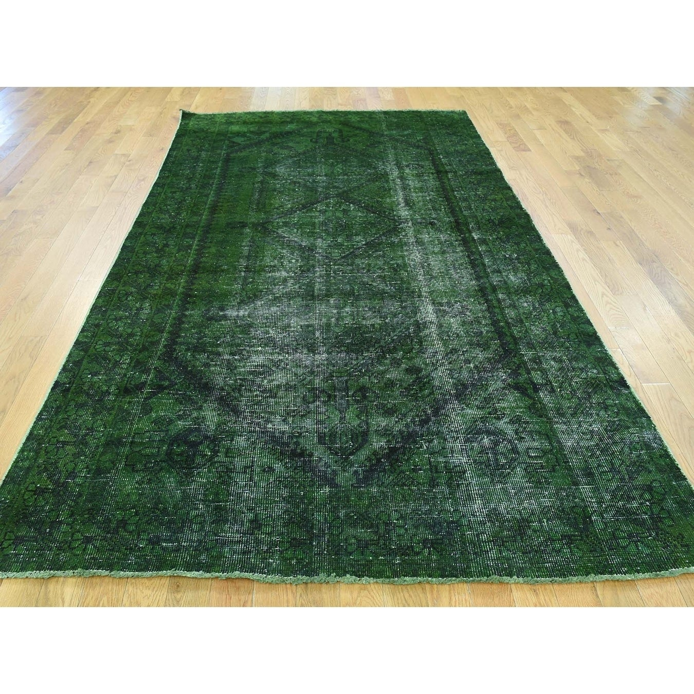 Hand Knotted Green Overdyed & Vintage with Wool Oriental Rug - 5 x 99
