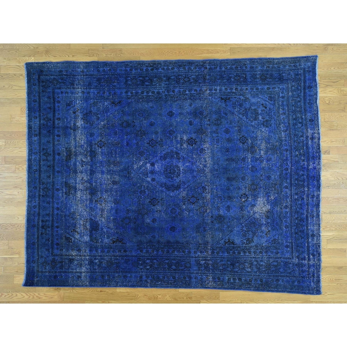 Hand Knotted Blue Overdyed & Vintage with Wool Oriental Rug - 74 x 96
