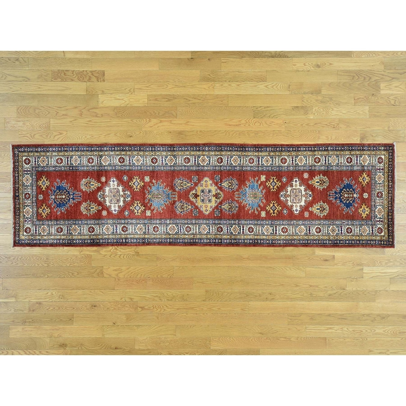 Hand Knotted Red Kazak with Wool Oriental Rug - 29 x 101