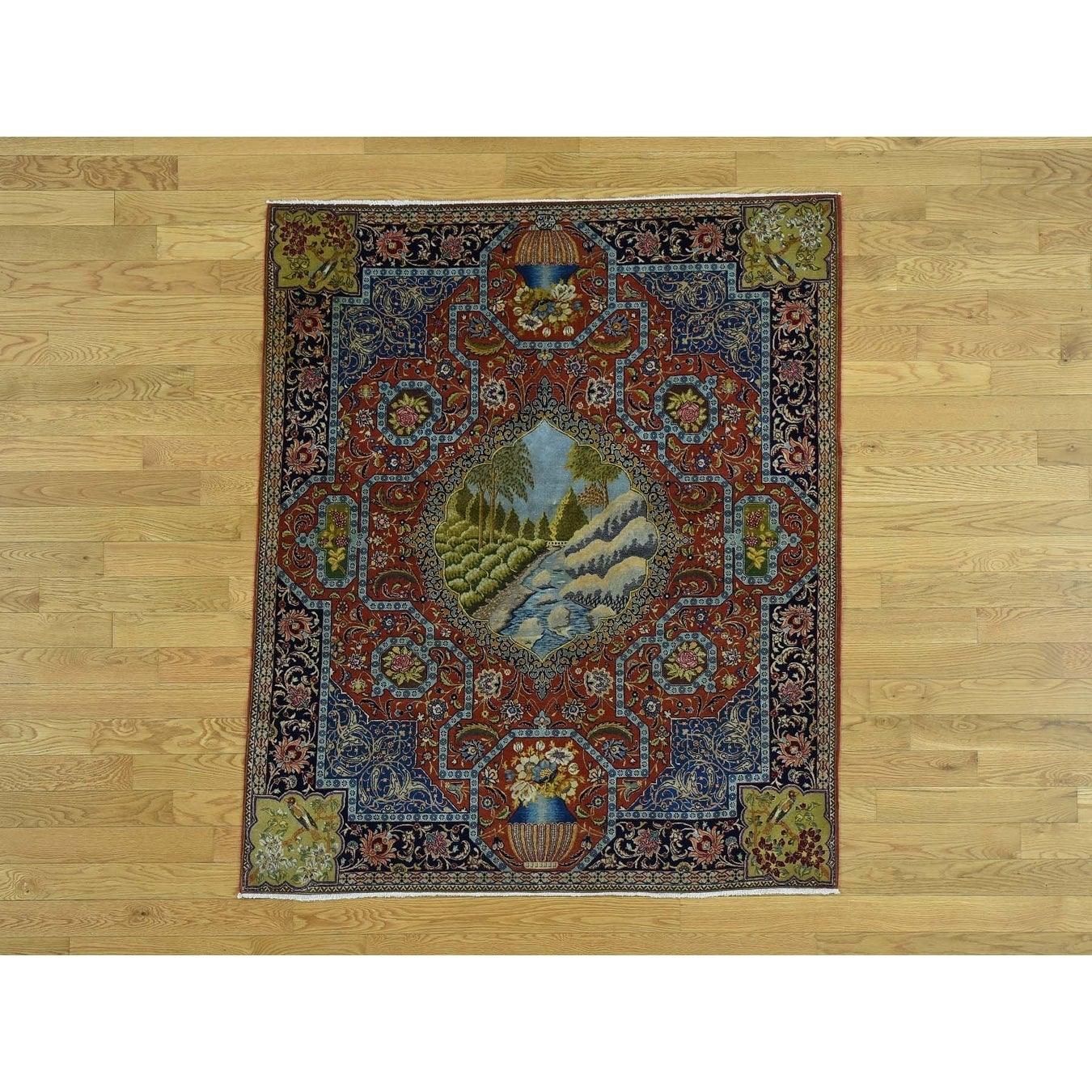 Hand Knotted Red Antique with Wool Oriental Rug - 47 x 54
