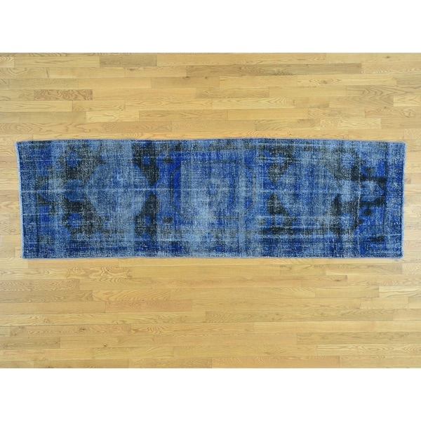 Hand Knotted Blue Overdyed & Vintage with Wool Oriental Rug - 2'10 x 9'6