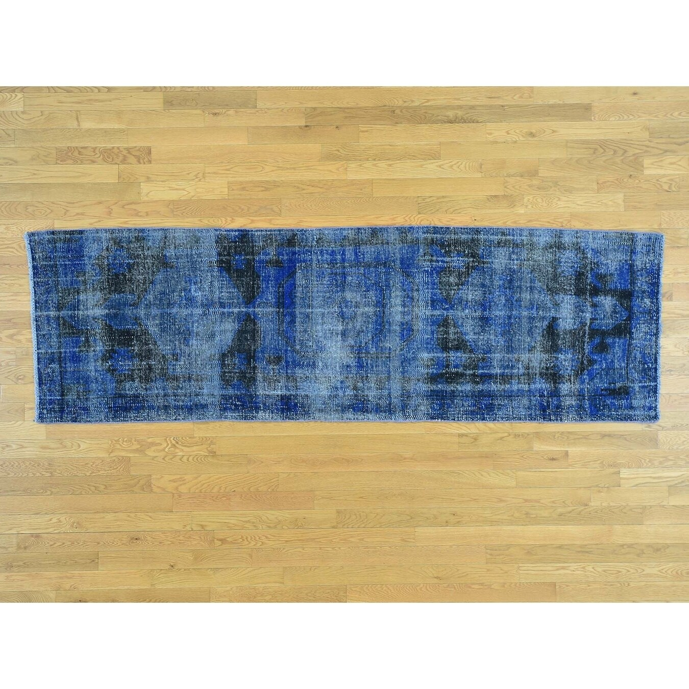 Hand Knotted Blue Overdyed & Vintage with Wool Oriental Rug - 210 x 96