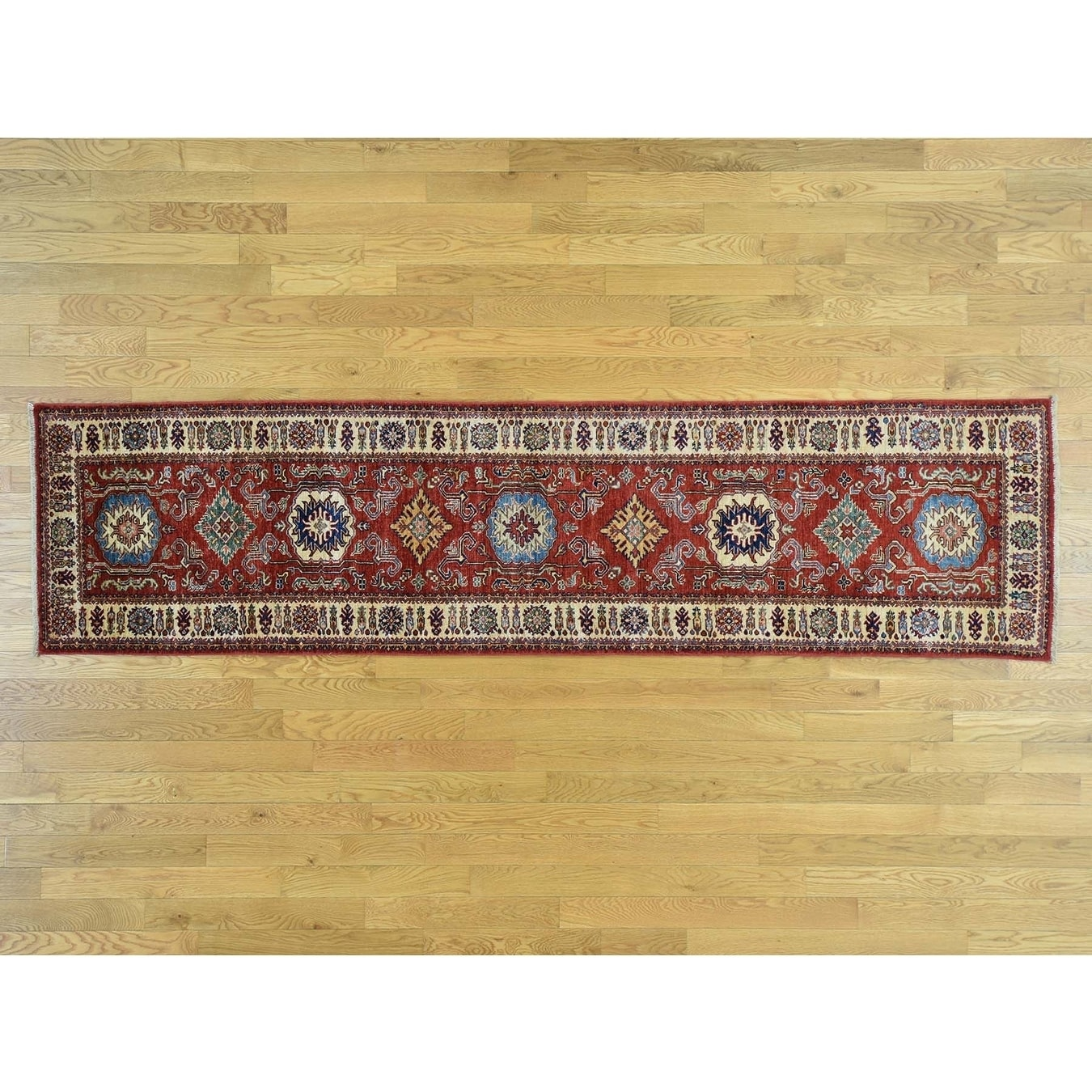 Hand Knotted Red Kazak with Wool Oriental Rug - 27 x 105