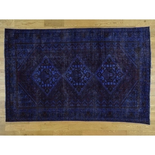 Hand Knotted Blue Overdyed & Vintage with Wool Oriental Rug - 6'6 x 10'1
