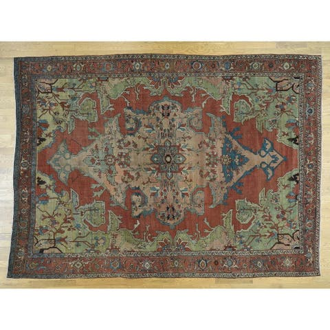 Hand Knotted Red Antique with Wool Oriental Rug - 9'2 x 13'