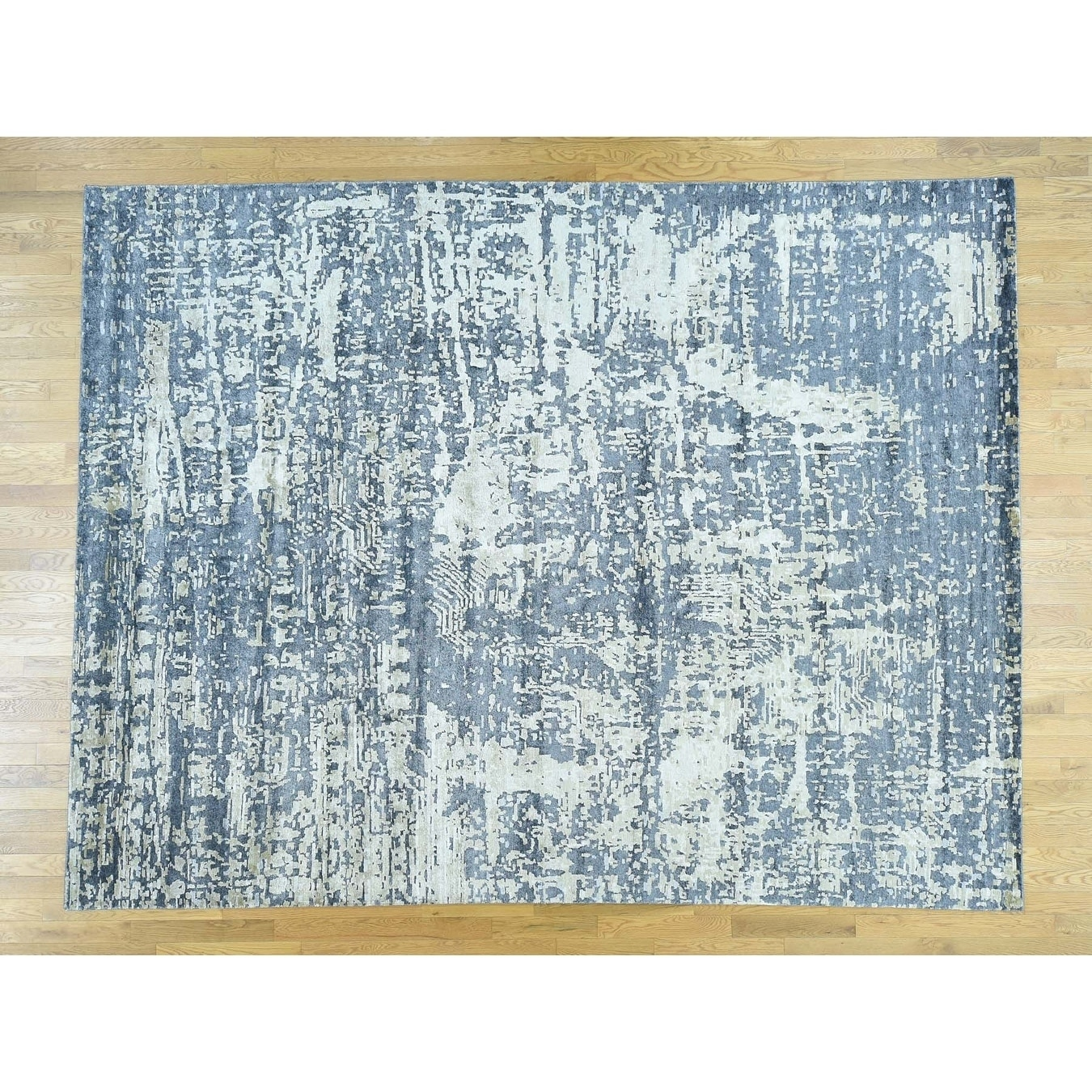 Hand Knotted Blue Modern & Contemporary with Wool & Silk Oriental Rug - 92 x 12