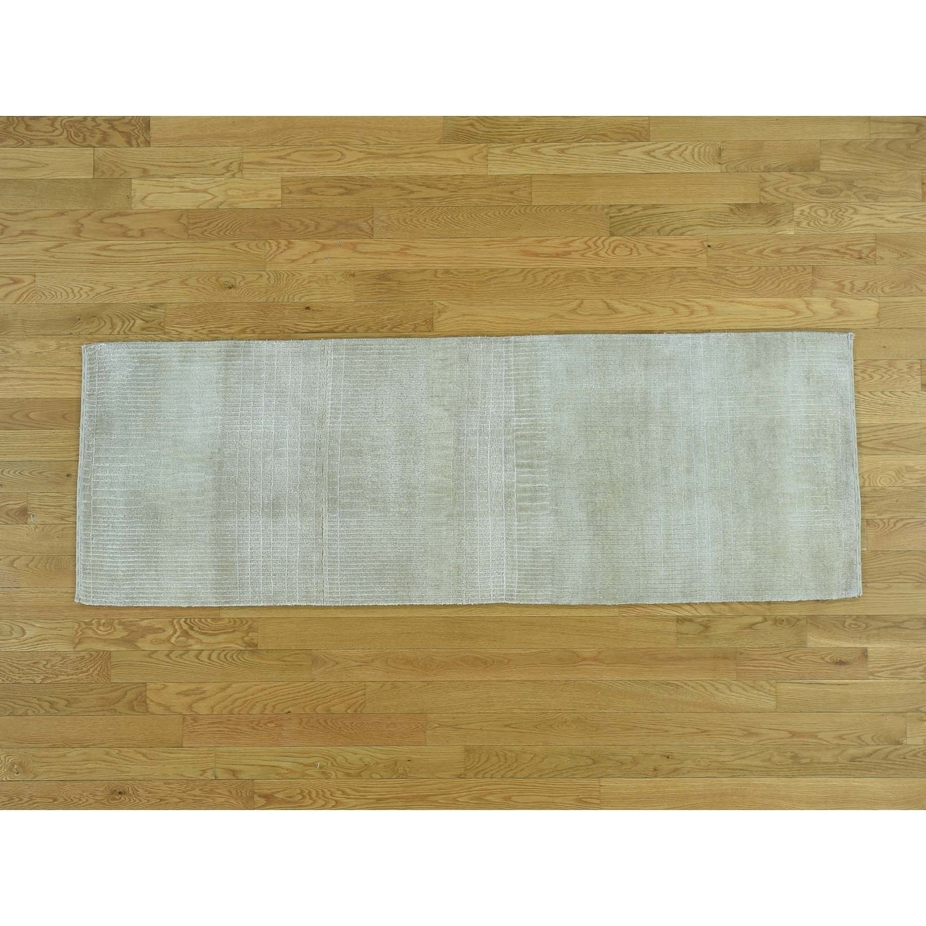Hand Knotted Beige Modern & Contemporary with Wool & Silk Oriental Rug - 23 x 68