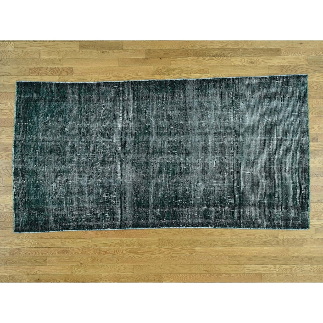 Hand Knotted Green Overdyed & Vintage with Wool Oriental Rug - 410 x 92