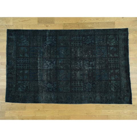 Hand Knotted Green Overdyed & Vintage with Wool Oriental Rug - 6'1 x 10'