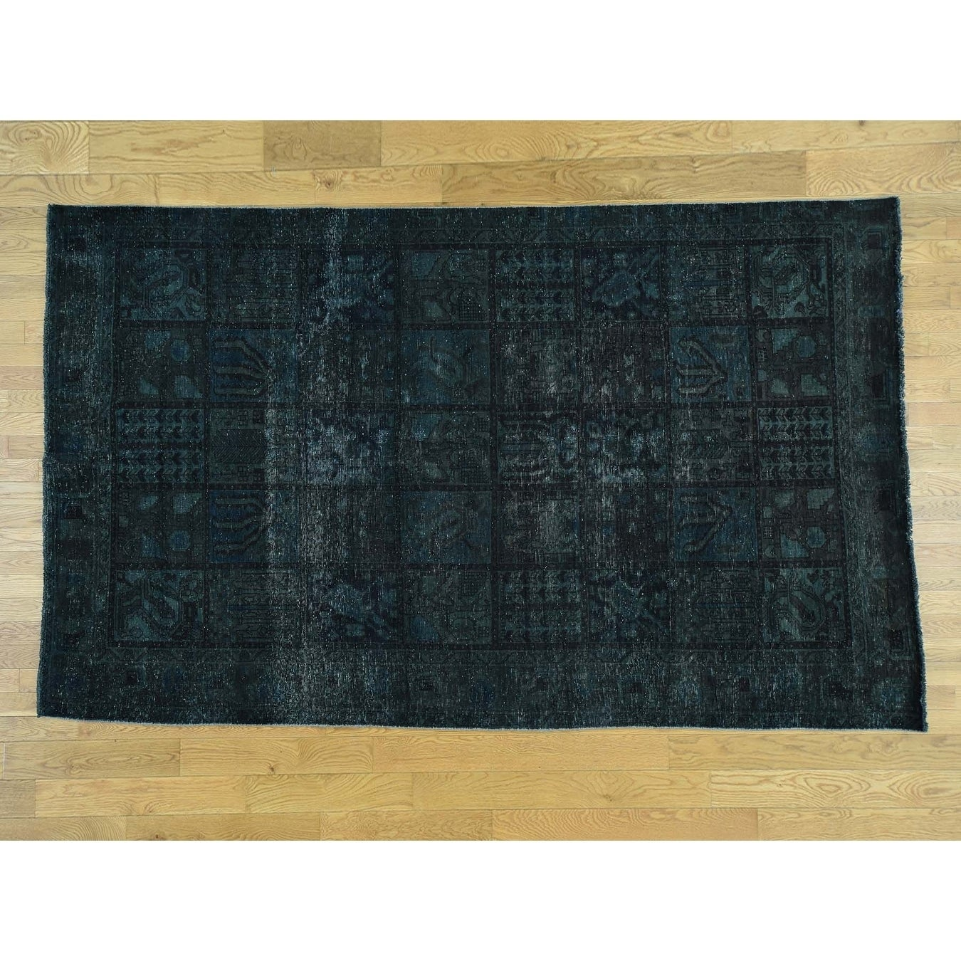 Hand Knotted Green Overdyed & Vintage with Wool Oriental Rug - 61 x 10