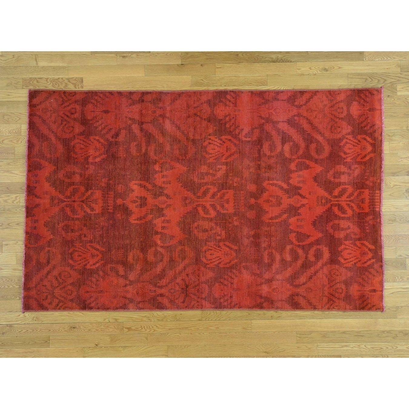 Hand Knotted Red Overdyed & Vintage with Wool Oriental Rug - 52 x 83