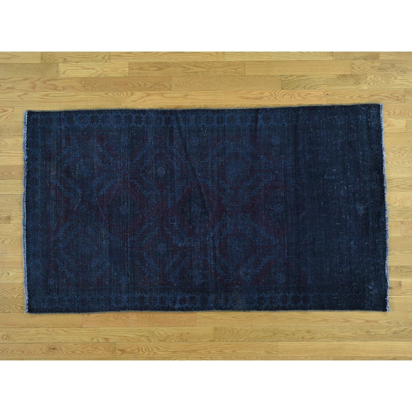 Hand Knotted Blue Overdyed & Vintage with Wool Oriental Rug - 310 x 67